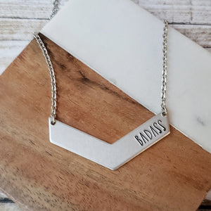 Badass Handstamped Chevron Necklace