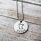 Minnesota Uffda Stamped Pendant Minn Gifts MN Stocking Stuffers Minnesota Jewelry