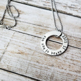 She Who Is Brave Is Free Hand Stamped Washer Necklace