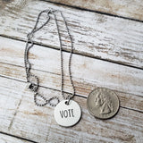 Vote Hand Stamped Necklace