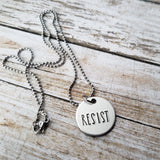 Resist Hand Stamped Necklace