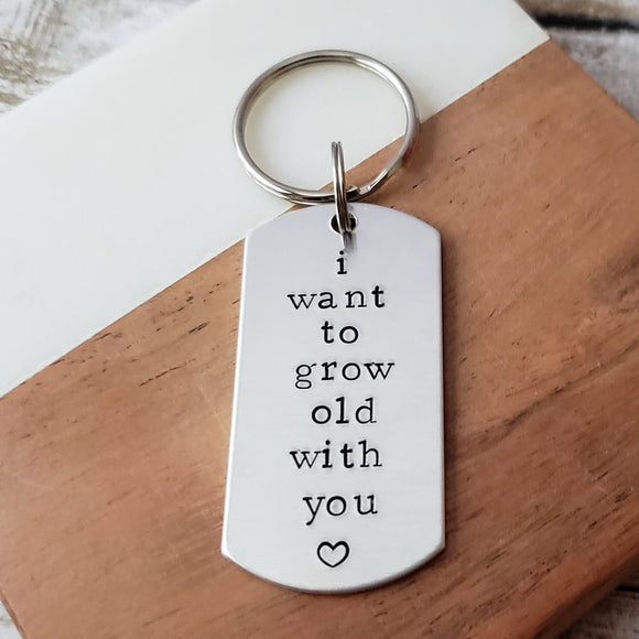 Boyfriend Gift, Husband Key Chain, Grow Old With Me, Stocking Stuffers