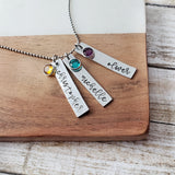 Three Name and Birthstone Necklace with Script Font