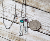 Two Name and Birthstone Mom Pendant with Script Font