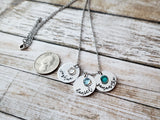 Three Name Disc and Birthstone Necklace with Script Font