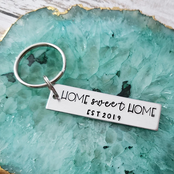 Home Sweet Home With Year Established Keychain