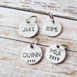 Add On - Personalized Charm for Keychains - Round, Heart, or Rectangle