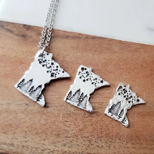 Hand Cut Minnesota Pendant with Stars and Trees - 3 Sizes Available