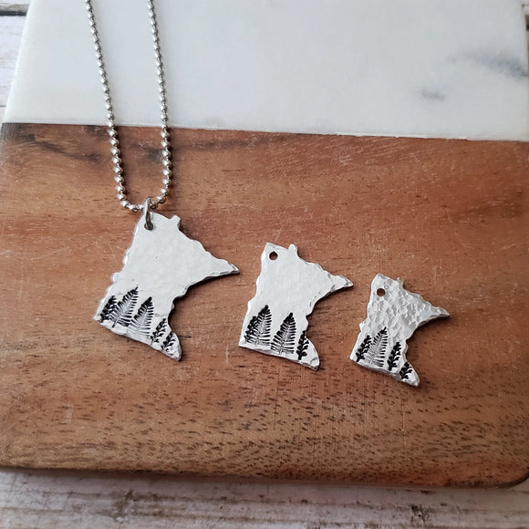 Hand Cut Minnesota Pendant with Trees - 3 Sizes Available