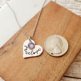 Name and Birthstone Heart Necklace with Hammered Edge - Up To 3 Hearts and Birthstones