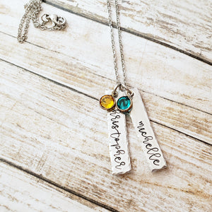 Name and Birthstone Bar Necklace with Hammered Edge - Up To 3 Discs and Birthstones