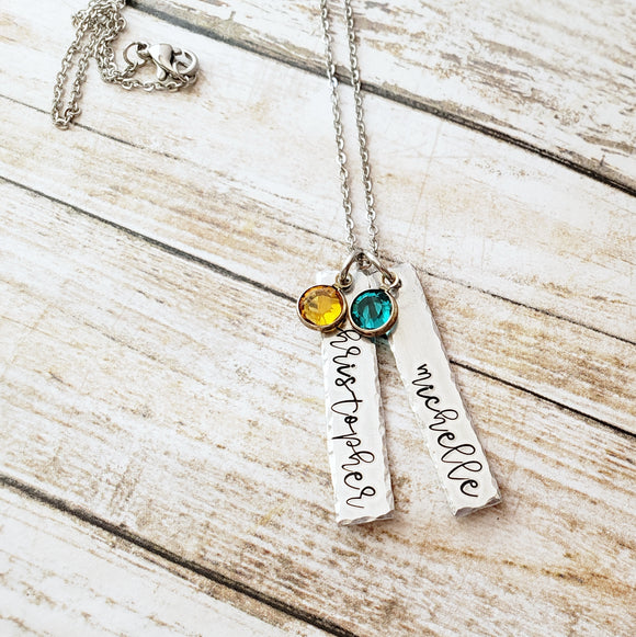 Name and Birthstone Bar Necklace with Hammered Edge - Up To 3 Bars and Birthstones