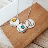 Name and Birthstone Disc Necklace with Script Font and Hammered Edge - Up To 3 Discs and Birthstones