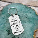 Inspire Encourage Teach Keychain for Teacher