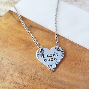 I Don't Care Heart Necklace