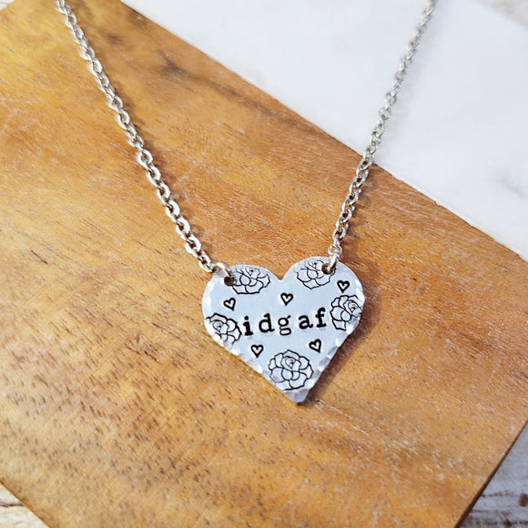 IDGAF Heart Necklace