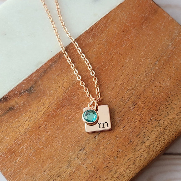 Tiny Rose Gold Plated Square Hand Stamped with Initial and a Birthstone Charm