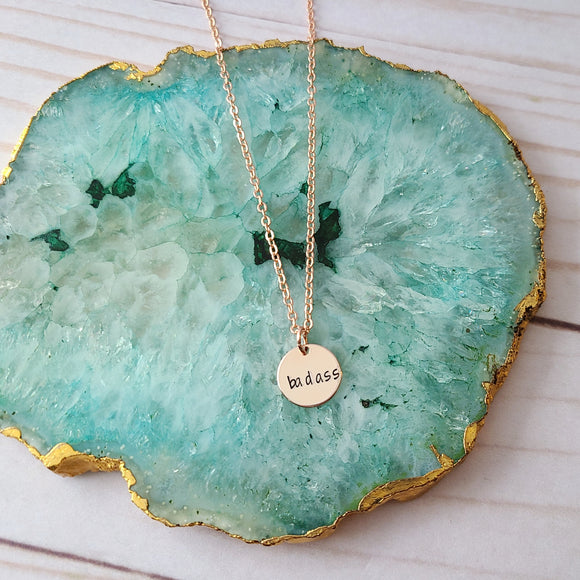 Tiny Rose Gold Badass Disc Necklace - Choose Your Word