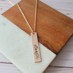 Rose Gold Plated Strength w/ Birthstone Necklace - Choose Your Text