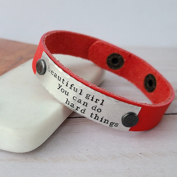 Beautiful Girl You Can Do Hard Things - Red Leather Cuff Bracelet