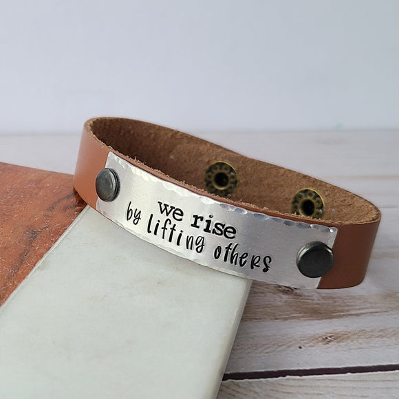 We Rise By Lifting Others - Natural Tan Leather Cuff Bracelet