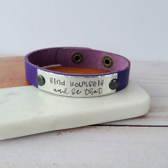 Find Yourself And Be That - Purple Leather Cuff Bracelet