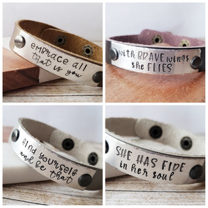Leather Cuff Bracelet - Customizable