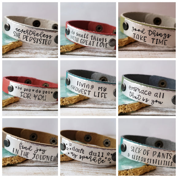 Leather Cuff Bracelet - Choose Your Saying