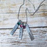 Three Name and Birthstone Necklace