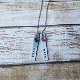Two Name and Birthstone Pendant