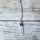 Personalized Name and Birthstone Bar Necklace