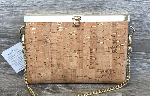 Natural w/Gold Fleck Cork Roxy Convertible Clutch