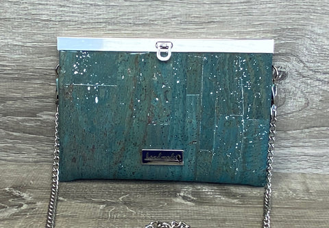 Teal w/Silver Fleck Cork Roxy Convertible Clutch