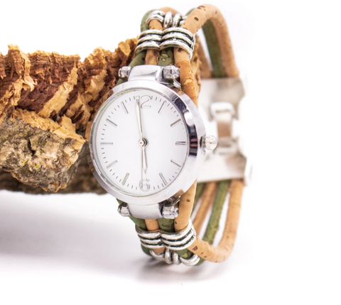 Handmade Olive & Natural Cork Watch
