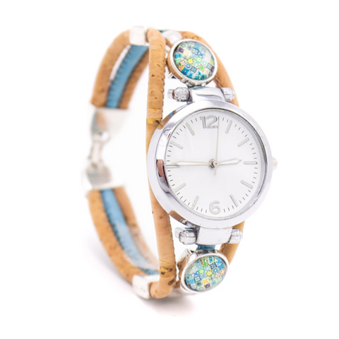 Handmade Blue & Natural Cork Watch