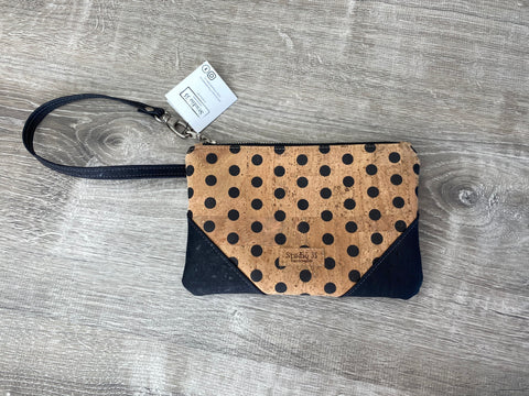 Cork Wristlet - Black Polka Dot