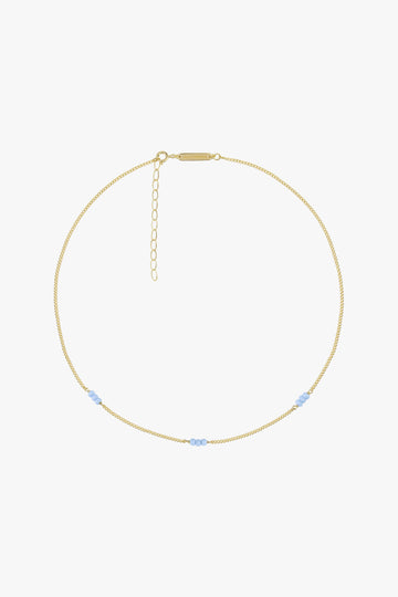 Triple Blue Beads Necklace in Gold