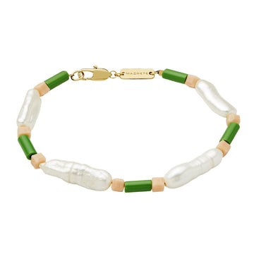 Beaded Biwa Pearl Bracelet in Lily