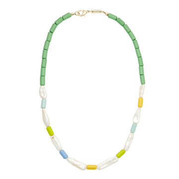 Beaded Biwa Pearl Necklace in Green