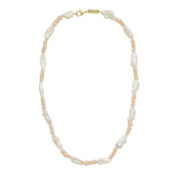 Beaded Biwa Pearl Necklace in Peach