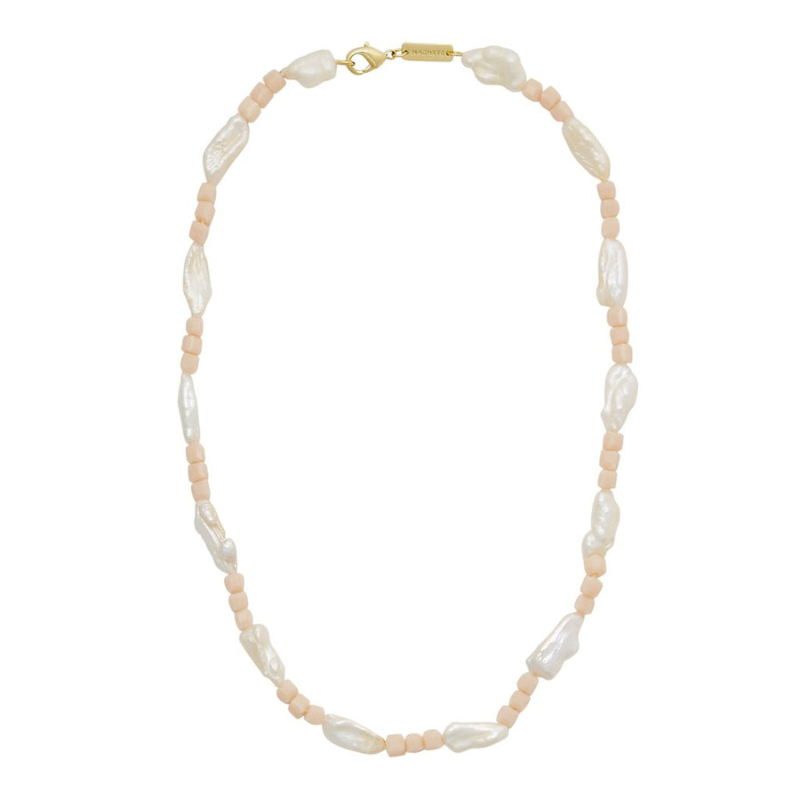 Beaded Biwa Pearl Necklace in Soft Pink