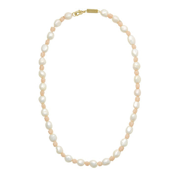 Beaded Round Pearl Necklace in Peach