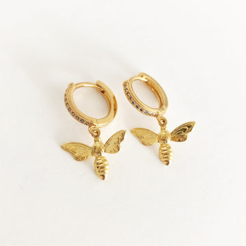 Bee Earrings Glitter in Gold