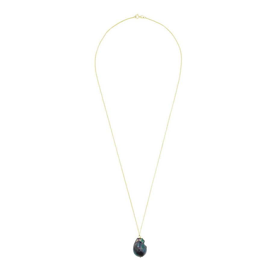 Black Baroque Pearl Necklace with 14k Gold Chain