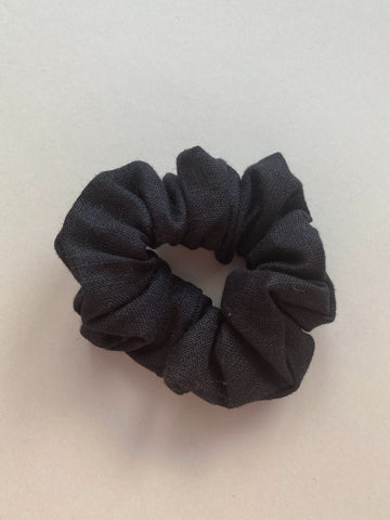 Black Linen Scrunchie