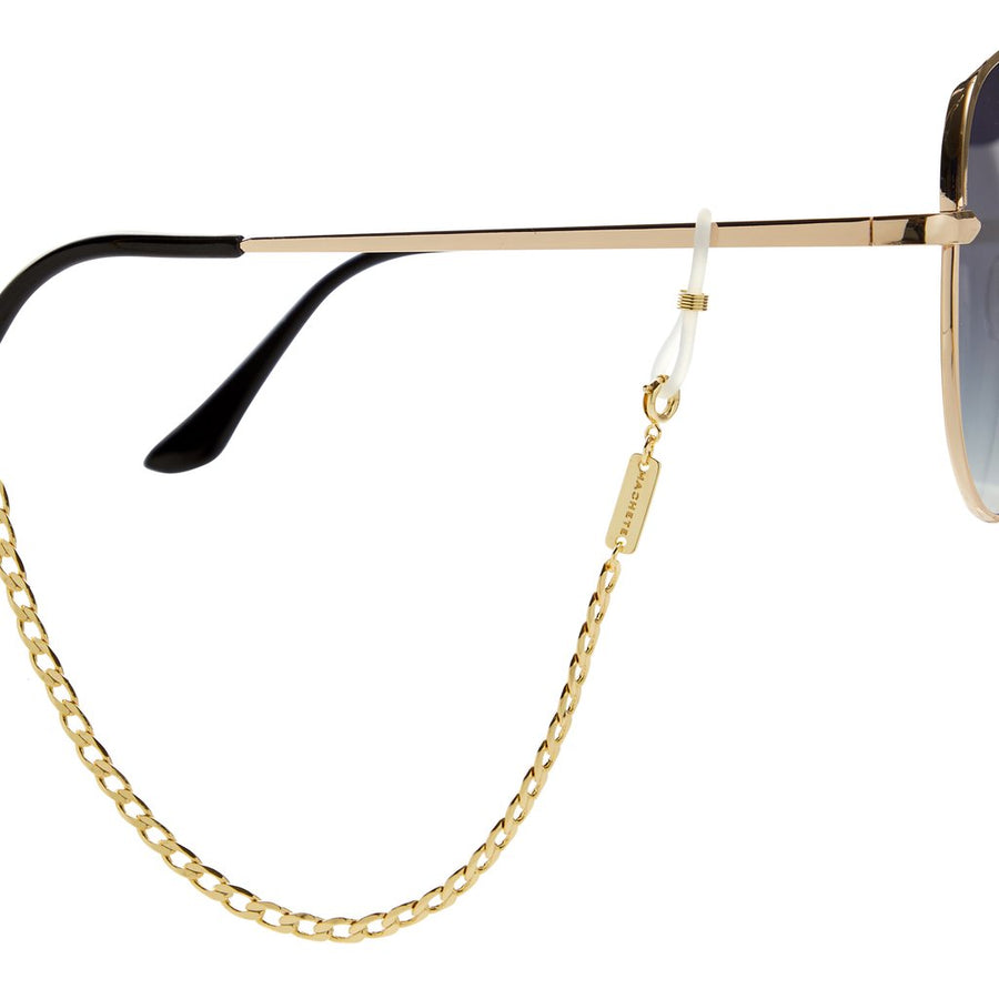 Curb Link Sunglass Chain in Gold