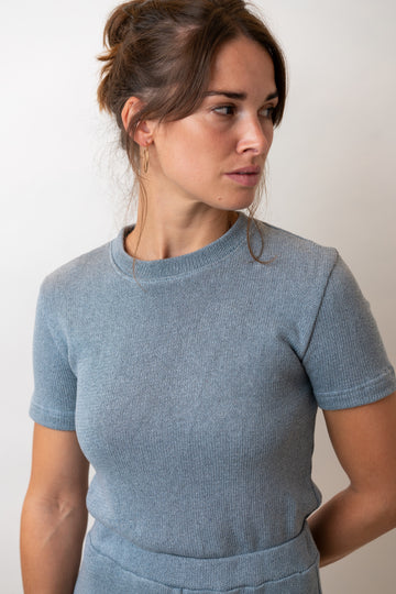 Emma Shirt in Blue Knit