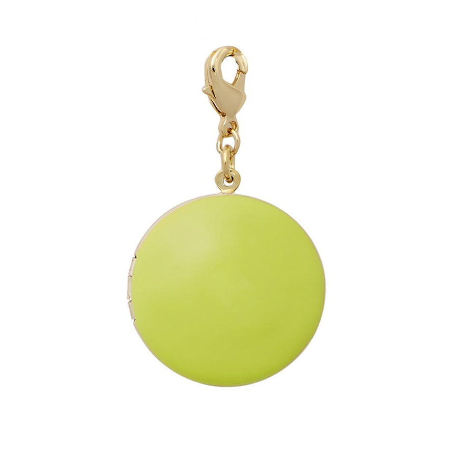 Enamel Locket Necklace in Chartreuse