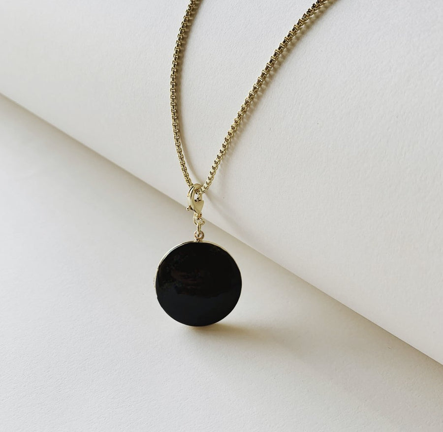 Enamel Locket Necklace in Noir