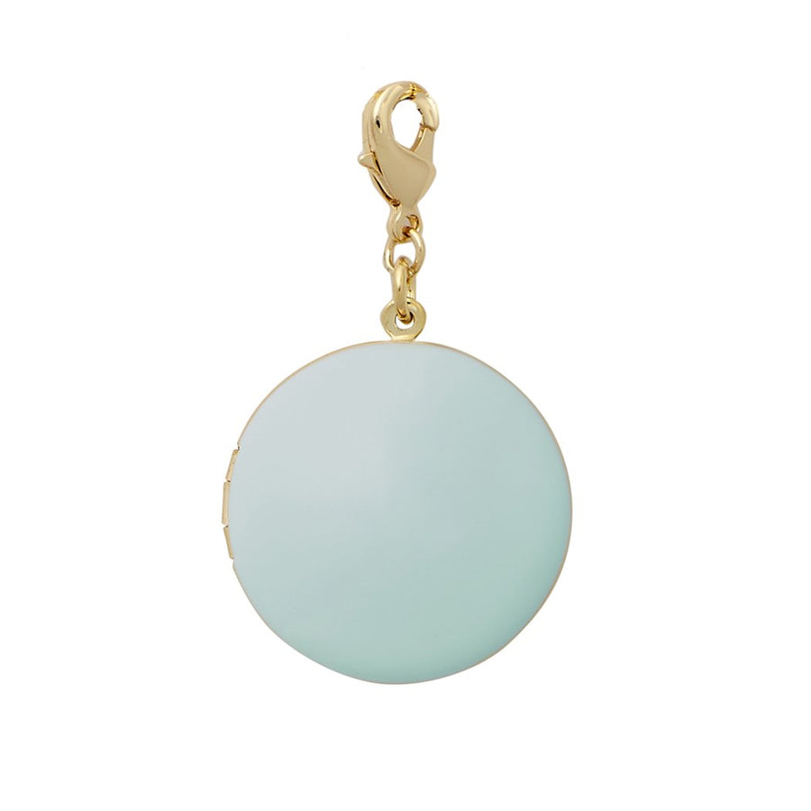 Enamel Locket Necklace in Sky Blue